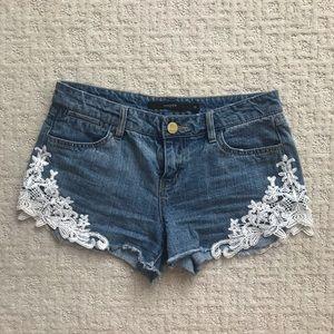 Harper Lace Trim Denim Shorts